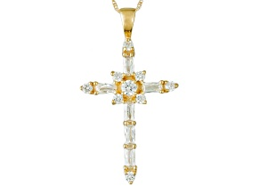 Pre-Owned Cubic Zirconia 10k Yellow Gold Cross Pendant With Chain 1.77ctw (1.18ctw DEW)