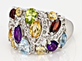 Pre-Owned Multi-color gemstone rhodium over silver ring 4.19ctw