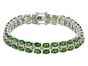Pre-Owned Green Chrome Diopside Sterling Silver Bracelet 16.59ctw