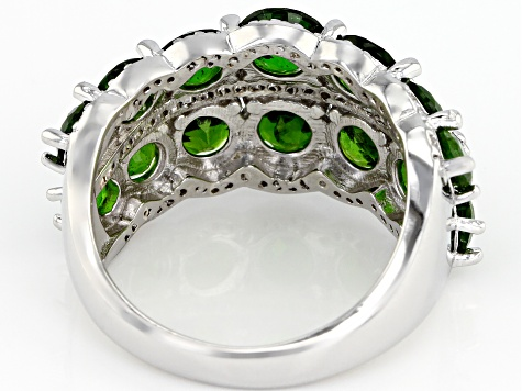 Pre-Owned Green Chrome Diopside Rhodium Over Sterling Silver Ring 4.31ctw