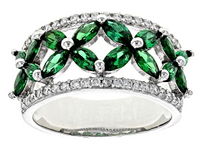 Pre-Owned Green And White Cubic Zirconia Rhodium Over Sterling Silver Ring 3.28ctw