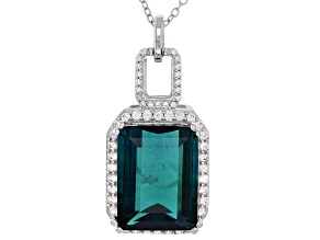 Pre-Owned Blue Teal Fluorite Sterling Silver Pendant With Chain 13.18ctw