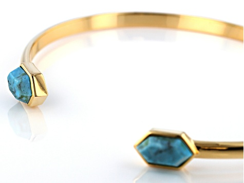 Pre-Owned Turquoise Kingman 18k Gold Over Silver Bracelet