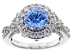 Pre-Owned Swarovski ® Arctic Blue & White Zirconia Rhodium Over Sterling Silver Center Design Ring 5
