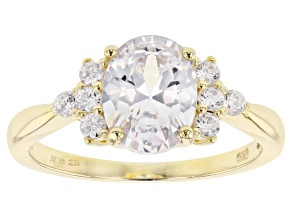 Pre-Owned White Cubic Zirconia 18K Yellow Gold Over Sterling Silver Center Design Ring 1.94ctw