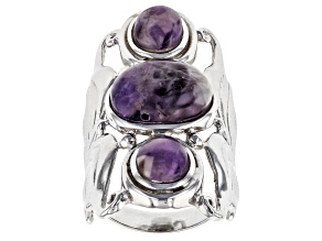 Pre-Owned Purple amethyst rhodium over sterling silver ring