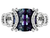 Pre-Owned Blue Color Change Fluorite Rhodium Over Sterling Silver Ring 4.70ctw