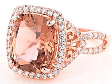 Pre-Owned Morganite Simulant & White Cubic Zirconia 18k Rose Gold Over Sterling Silver Ring 6.40ctw