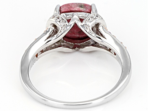 Pre-Owned Red Thulite Rhodium Over Sterling Silver Ring .43ctw