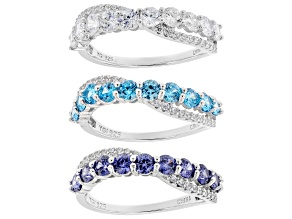 Pre-Owned Blue and White Cubic Zirconia Rhodium Over Sterling Silver Rings Set of 3 6.00ctw