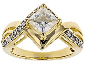 Pre-Owned Moissanite 14k Yellow Gold Over Silver Ring 1.36ctw DEW.