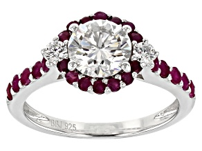 Pre-Owned Moissanite Fire And Ruby Platineve Ring 1.32ctw DEW.