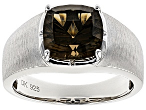 Pre-Owned Brown smoky quartz rhodium over silver men's ring 4.32ct