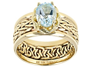 Pre-Owned 1.50 Ctw Blue Topaz 10k Yellow Gold Designer Wheat Ring