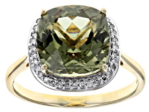 Pre-Owned Green Turkish Diaspore 14k Yellow Gold Ring 4.59ctw
