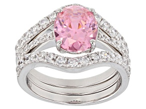 Pre-Owned Pink And White Cubic Zirconia Rhodium Over Sterling Silver Ring With Bands 6.56CTW