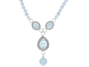 Pre-Owned Blue aquamarine sterling silver necklace