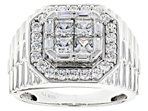 Pre-Owned Cubic Zirconia Silver Gents Ring 3.94ctw (2.30ctw DEW)