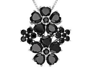 Pre-Owned Black Spinel Sterling Silver Pendant With Chain 6.49ctw