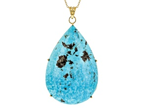 Pre-Owned Turquoise 18k Yellow Gold Over Sterling Silver Pendant With Chain