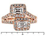 Pre-Owned White Cubic Zirconia 18k Rose Gold Over Sterling Silver Ring 3.07ctw