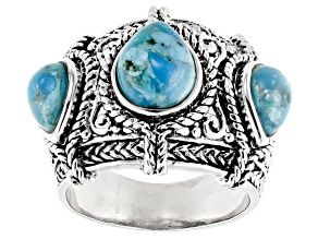 Pre-Owned Blue turquoise sterling silver 3-stone ring