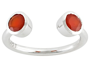 Pre-Owned Orange Carnelian Sterling Silver Ring 5mm