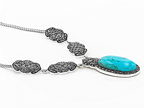 Pre-Owned Blue Turquoise Sterling Silver Necklace