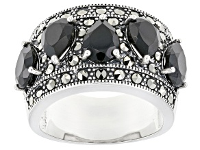 Pre-Owned Black Spinel Sterling Silver Ring 4.30ctw