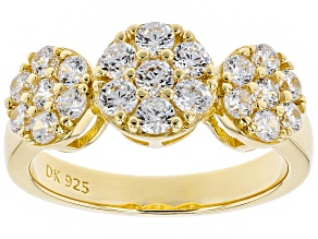 Pre-Owned White Cubic Zirconia 18K Yellow Gold Over Sterling Silver Ring 2.18CTW