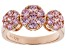 Pre-Owned Pink Cubic Zirconia 18K Rose Gold Over Sterling Silver Ring 2.18CTW