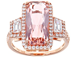 Pre-Owned Peach Nanocrystal & White Cubic Zirconia 18K Rose Gold Over Silver Center Design Ring