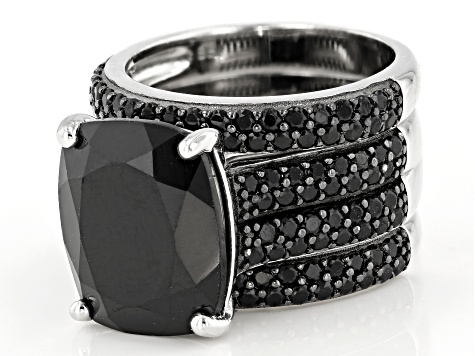 Pre-Owned Black spinel rhodium over sterling silver ring 11.16ctw