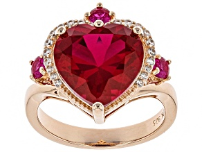Pre-Owned Red lab created ruby 18k gold over silver ring 5.62ctw