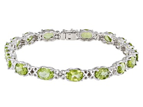 Pre-Owned Green Peridot Sterling Silver Bracelet 11.90ctw