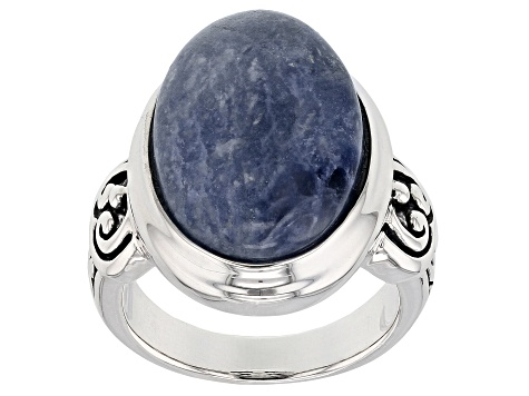 Pre-Owned Blue Sodalite Sterling Silver Ring