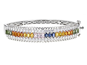 Pre-Owned Mixed Color Sapphire Silver Bangle Bracelet 14.84ctw