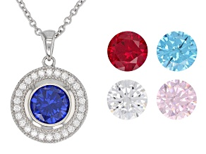 Pre-Owned Lab Created Ruby, White, Blue, & Pink Cubic Zirconia Rhodium Over Silver Pendant With Chai