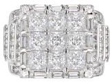 Pre-Owned White Cubic Zirconia Rhodium Over Sterling Silver Ring 6.60CTW