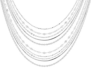 Pre-Owned Sterling Silver Diamond Cut Chain Set Of Ten 18 And 22 inch