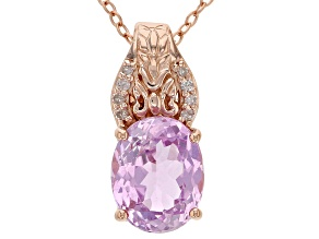 Pre-Owned Pink kunzite 18k rose gold over sterling silver pendant with chain 3.12ctw