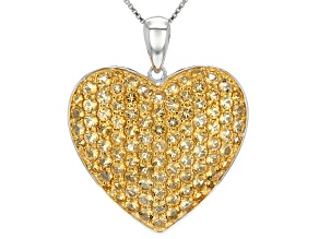 Pre-Owned Yellow Citrine Sterling Silver Heart Pendant With Chain 5.21ctw