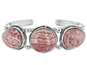 Pre-Owned Pink Rhodochrosite Silver Cuff Bracelet