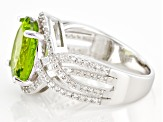 Pre-Owned Green Peridot Rhodium Over Sterling Silver Ring 5.07ctw