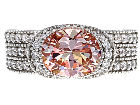 Pre-Owned Swarovski ® Morganite Color & White Cubic Zirconia 18K Rose Gold Over Silver Ring 5.65ctw
