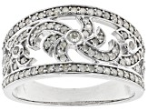 Pre-Owned White Diamond Rhodium Over Sterling Silver Ring 0.63ctw