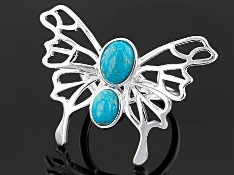 Pre-Owned Turquoise Silver Over Brass Butterfly Ring
