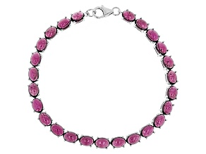 Pre-Owned Raspberry Color Rhodolite Sterling Silver Bracelet 29.00ctw