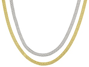 Pre-Owned 18k Yellow Gold Over Bronze and Rhodium over Bronze 18 inch Necklace Set of Two
