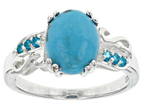 Pre-Owned Blue Turquoise Sterling Silver Ring .10ctw